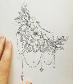 Vector indian traditional pattern of black and white flower mandala ide boob tattoo design ivanacoppola crescent flowers mandala mandalatattoo art tattooidea artist artistic feature j creating tattoo idea skull flowers mandala insta amylquise_drawings Side Boob Tattoo, Dotwork Tattoo Mandala, Mandala Tattoo Design, Mandala Art, Lace Tattoo Design, Mandala Sketch, Mandala Thigh Tattoo, Lotus Mandala, Tattoo Forearm