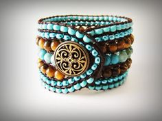 Handcrafted Beaded Leather Wrap Bracelet brown by zSwBizuteria, $30.00