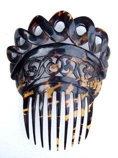 Victorian Pre-Ban Tortoiseshell Spanish Mantilla Style Hair Accessory from spanishcomb on Ruby Lane