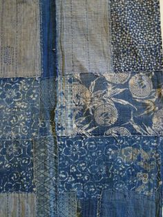 A detail of a century indigo dyed cotton boro futon cover showing a rich arrangement of katazome or stencil resist dyed cloth. Japanese Quilts, Japanese Textiles, Japanese Fabric, Shibori, Boro Stitching, Impression Textile, Visible Mending, Futon Covers, Sashiko Embroidery