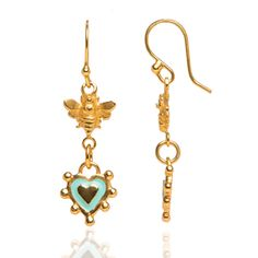 Baby bee hook drop earrings with nobbly enamel heart with heart centre in fully gold plated silver by Sophie Harley London.