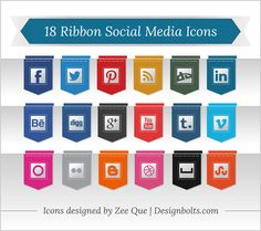 18 Free Ribbon Social Media Icons PNG (256 px)