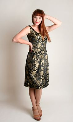 Vintage 1960s Wiggle Dress  Black and Gold Rose Floral Brocade Cocktail by zwzzy