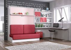 Juvenil abatible vertical con sofa y zona estudio