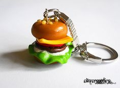 Delicious Burger keyring,handmade from polymer clay