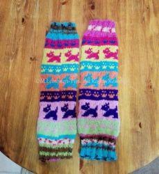 Lasten Terri*Eri ja tassu-aiheiset säärystimet   Handknitted colorful (dog and paw) legwarmers, my own design <3