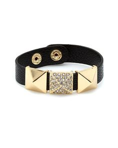 Kenneth Jay Lane 'Couture' Leather Crystal Bracelet