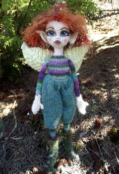 """Fairy """"Jewel-weed"""" hand knit by Jeanne Lawrence.   Based on pattern from """"Knitted Fairies to Cherish and Charm"""" by Fiona McDonald."""