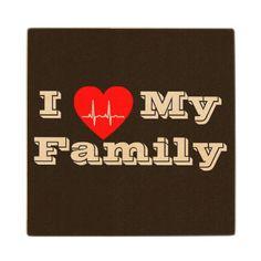 #wood - #I love my Family Custom heart    wood coaster