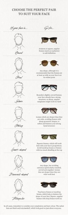 Pick sunglasses to suit your face