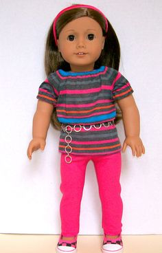 """18"""" Doll Clothes American Girl Pink Striped Tunic Complete Outfit"""