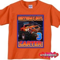Custom Blaze and Monster Machines Birthday Party Shirt  Birthday Party Shirt, birthday custom, diy, party shirt, kids shirt, girls shirt, boys shirt, theme, party, baby, awesome, DIY, shopping, idea, repin, worksaheart, gift, mom, red, blue, pink, name, personalize, shipping