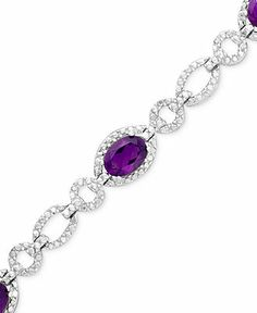 Sterling Silver Amethyst (5 ct. t.w.) and Diamond Accent Bracelet