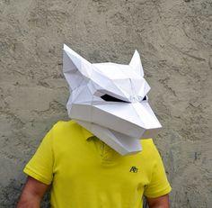 Make your Wolf Mask. Visit our Etsy shop. Www.etsy.com/shop/plainpapyrus #papercraft #wolf #papermask #plainpapyrus