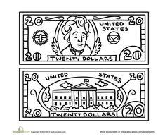 Preschool Life Learning Money Worksheets: Twenty Dollar Bill Coloring Page Bat Coloring Pages, Cross Coloring Page, Football Coloring Pages, Coloring Sheets For Kids, Maltese Cross Tattoos, Elijah And The Widow, Learning Money, Life Learning, Money Worksheets