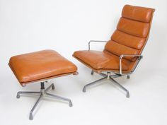 Rare 1970's Eames Herman Miller Soft Pad Lounge Chair with Ottoman Cognac