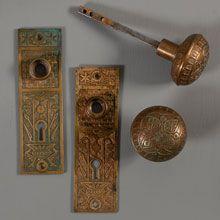 Decorative bronze doorknobs and doorplates Door Knobs, Door Handles, San Diego Houses, Twist And Shout, Aesthetic Movement, Door Stopper, Home Hardware, Victorian Era, Home Improvement