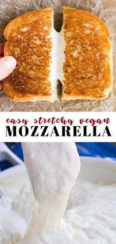 This EASY stretchy vegan mozzarella cheese is perfect for pizza, lasagna, grilled cheese and more! Only 5 ingredients & 15 minutes to make. EASY Stretchy Vegan Mozzarella Cheese Sibylle Weigelt campusbash snack things This EASY s Vegan Cheese Recipes, Vegan Sauces, Vegan Foods, Vegan Dishes, Dairy Free Recipes, Vegetarian Recipes, Vegan Cheese Pizza, Mozzarella Cheese Recipe, Vegetarian Cooking