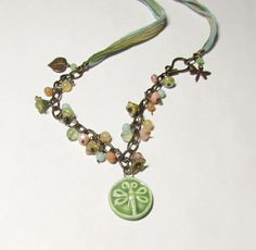 Hand dyed silk Dragonfly necklac with by WorldOfSquirrelCraft, $27.00