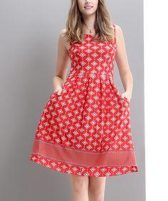 Look at this #zulilyfind! Red Mosaic Fit & Flare Dress by Reborn Collection #zulilyfinds