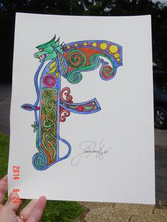 Celtic Lettering with Knotting, watercolor and ink on paper.