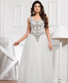 Buy Magnificent White Readymade Gown online at  https://www.a1designerwear.com/magnificent-white-readymade-gown  Price: $107.78 USD