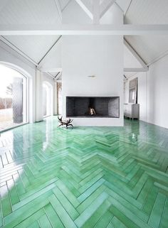 Beautiful sea green turquoise wood floors. Perfect for a Beach House | La Beℓℓe ℳystère