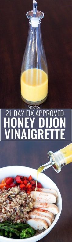 Honey Mustard Vinaigrette - this homemade salad dressing is perfect for summer. It's 21 Day Fix approved (along with all Beachbody containers) and is a clean eating treat. Goes great with salad, a spring chicken bowl or use it as a chicken marinade.