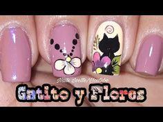 Fácil diseño de uñas gatito y flores - YouTube Pedicure Nail Designs, Pedicure Nails, Toe Nails, Manicure, Design Art, Nail Polish, Nail Art, Margarita, Ideas Para