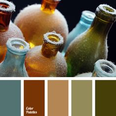 """dusty"" blue, ""dusty"" green, brown color, brown shades, color of bottle glass, color of glass bottles, color of green glass, green color, green shades, olive color."