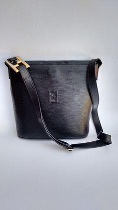90ddf656 FENDI Bag. Fendi Vintage Black Epi Leather Shoulder Bucket Bag . Italian  designer purse.
