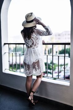 Loved wearing this lace swimsuit coverup while on vacation in cabo! The perfect beach coverup! Shop the look by clicking to read more! | Women's fashion, outfit ideas, beach vacation, travel wear,