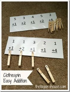 math = matematicas :) Use clothespins with answers to practice addition. This can work for subtraction as well. Math Classroom, Kindergarten Math, Teaching Math, Kindergarten Addition, Kindergarten Projects, Classroom Ideas, Math For Kids, Fun Math, Math Stations
