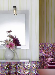 Love this gorgeous purple mosaic backsplash