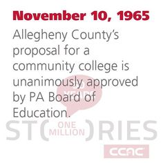 #TBT November 10 1965: #AlleghenyCounty's proposal for a community college is unanimously approved by the #Pennsylvania Board of Education. #CCAC #CCAC50 #CCAChistory #50yearsofeducation #ThrowbackThursday