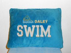 Embroidered Minky Swim team pillow case by BunnyInAteacup on Etsy, $17.00