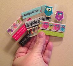 I make Washi tape sample cards out of recycled rigid plastic packaging cut to ATC size. I round the corners, otherwise they are very sharp. I can even punch holes to hold paper fasteners as in the sample with owls. These samples slide into the trading card page perfectly.
