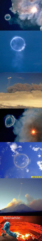 Volcano smoke rings