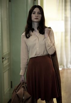 """Mia Wasikowska in Stoker: """"This movie is really a kind of dark fairy tale and also a classic coming of age story. It was so fun to be part of creating India's look. A lot of those initial inspirations came from really classic little girls clothing, the paintings of Balthus and even thinking of Henry Darger's work were great springboards."""""""