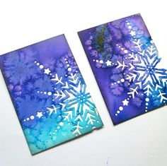 Elves In The Attic: Salt & Watercolor Backgrounds (ATCs) - Basteln Winter Art Projects, Winter Crafts For Kids, Art For Kids, Preschool Winter, Salt Watercolor, Watercolor Cards, Watercolor Backgrounds, Snowflakes Art, Snowflake Craft