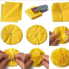 is part of Tissue paper flowers - DIY Paper Flowers Tissue Flowers, Paper Flowers Diy, Flower Crafts, Fabric Flowers, Tissue Paper Pom Poms Diy, Paper Sunflowers, Crafts With Tissue Paper, Flower Art, Paper Flower Garlands