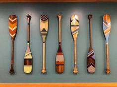 Custom painted canoe paddle, custom design painted oar, nautical home decor, painted oar, painted paddle Nautical Room Decor, Oar Decor, Seaside Decor, Nautical Home, Small Canoe, Painted Oars, Dream Catcher Craft, Surf House, Kayak Accessories