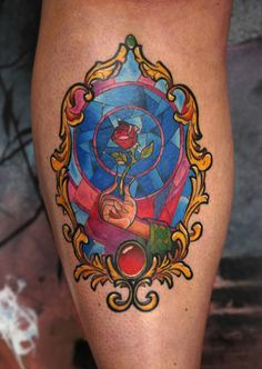 Finished Beauty and the Beast Stained Glass Window Tattoo