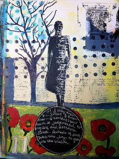 IMG_2359 by Meredith Krugel, via Flickr - Dina Wakely stamp Art Journal Pages, Art Journals, Art Journal Inspiration, Gravure, Art Techniques, Figurative Art, Word Art, Mixed Media Art, Altered Art