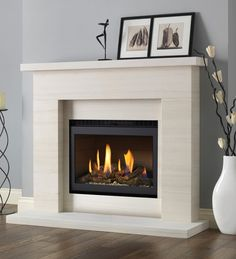 Excellent Pictures Electric Fireplace makeover Strategies Pureglow Drayton Limestone Fireplace Package With Chelsea HE Gas Fire Fireplace Redo, Limestone Fireplace, Small Fireplace, Modern Fireplace, Living Room With Fireplace, Fireplace Surrounds, Fireplace Design, Fireplace Mantels, Fireplace Ideas