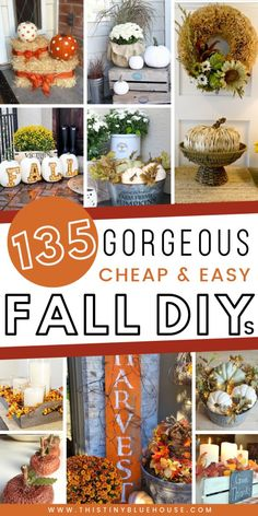 here are best DIY fall decor ideas that are perfect for welcoming autumn. These decor ideas include wreaths, indoor decor and even stunning outdoor porch decor ideas. These best DIY fall decor ideas are guaranteed to glam your house up in time for fal Cool Diy, Diy Design, Diy Fall Wreath, Thanksgiving Decorations, Fall Decorations, Thanksgiving Crafts, Autumn Crafts, Fall Projects, Fall Home Decor