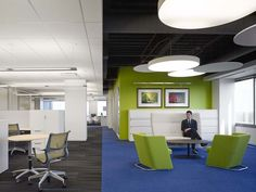 Installation Gallery - Keilhauer. Combination of open ceiling with suspended pendant and grid ceiling