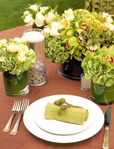autumn green copper acorn table setting scape centerpieces fall wedding event party hydrangeas orchids