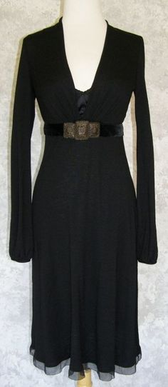 ELIE TAHARI Black Knit Dress Metal Medallion Belt Wool Silk w/ Velvet Evening XS #ElieTahari #EmpireWaist #LittleBlackDress