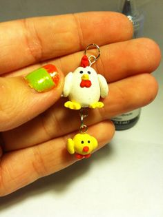 Chicken and Chick  - Polymer Clay Charm on Etsy, $5.00